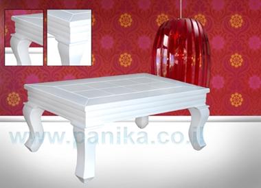 תמונה של שולחן סלון יוקרתי בגימור לבן מבריק דגם הימלאיה