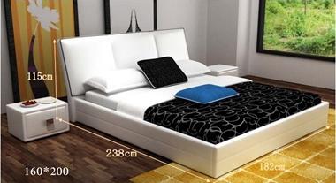 מיטות: מיטה זוגית מעור בצבע לבן דגם לויס
