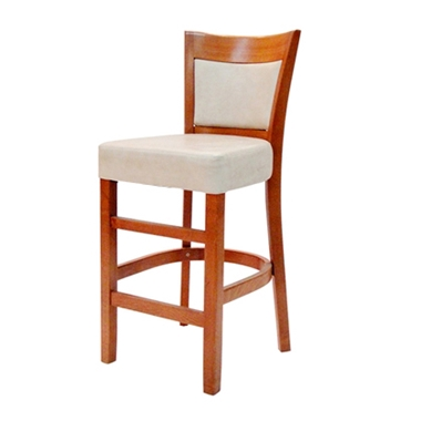 תמונה של כסאות בר: כסא בר עץ  מושב מרופד דגם שובל