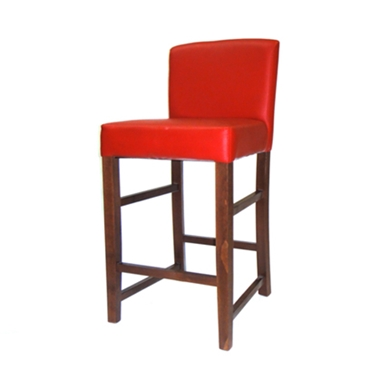 כסאות בר: כסא בר עץ מרופד גב מלא דגם פיני