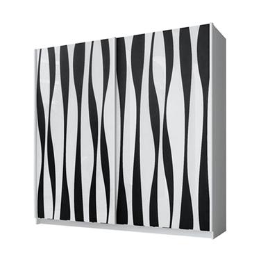 ארונות הזזה: ארון הזזה 2 דלתות מרהיב ביופיו דגם איריס שחור לבן