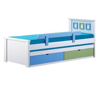 מיטות: מיטה יחיד מעץ מלא + מיטה נגררת  דגם קים