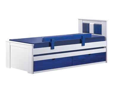 מיטות: מיטה יחיד מעץ מלא + מיטה נגררת  דגם נדיה