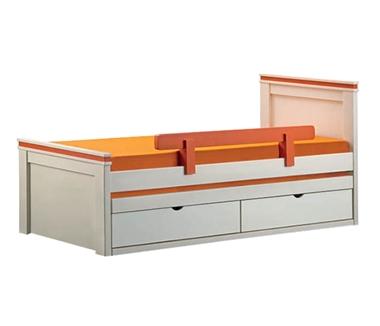 מיטות: מיטה יחיד מעץ מלא + מיטה נגררת דגם בארי