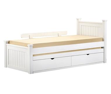 מיטות: מיטה יחיד מעץ מלא + מיטה נגררת דגם טלי
