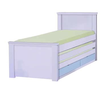 מיטות: מיטה יחיד מעץ מלא +2  מיטות נגררות דגם גילה