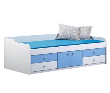 מיטות: מיטה יחיד מעץ מלא עם מגירות דגם שרון