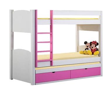 מיטות: מיטה קומותיים מעץ מלא + מיטה נגררת דגם חץ