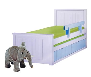 מיטות: מיטה יחיד מעץ מלא + מיטה נגררת דגם כרמל