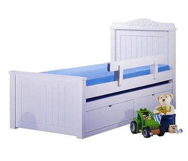 מיטות: מיטה יחיד מעץ מלא + מיטה נגררת דגם רונן