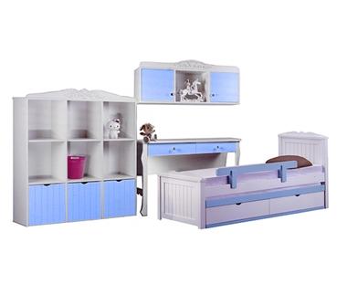חדרי ילדים: חדר ילדים מעץ מלא דגם שירה