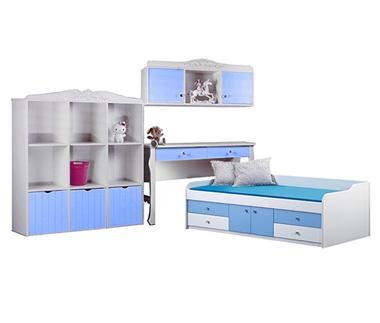 חדרי ילדים: חדר ילדים מעץ מלא דגם שרון