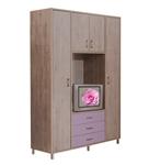 תמונה של ארונות בגדים: ארון 4 דלתות + 3 מגירות + מקום לטלוויזיה דגם 531