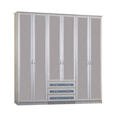 ארונות בגדים: ארון קיר 6 דלתות ו- 3 מגירות דגם ברעם