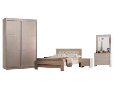 חדר שינה: חדר שינה זוגי + ארון הזזה דגם חול