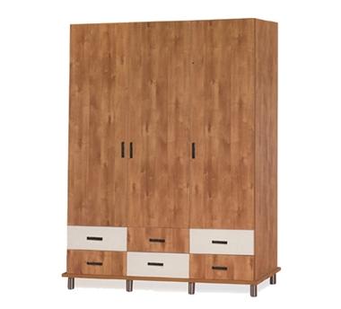 תמונה של ארונות בגדים: ארון 3 דלתות ו-6 מגירות דגם יער מ.ד.פ.