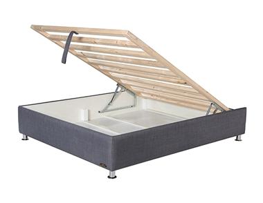 מיטות: בסיס מיטה זוגית מרופד עם מסגרת דגם פלאוורין