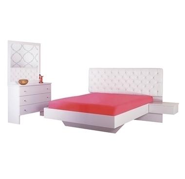 חדרי שינה: חדר שינה זוגי עץ מלא מיטה צפה דגם כנרת  במבצע