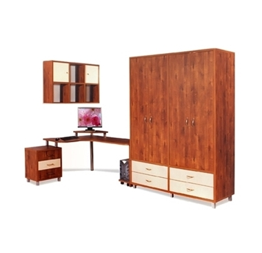 חדרי ילדים: חדר ילדים ארון ארבע דלתות ושולחן עבודה רחב דגם מירי
