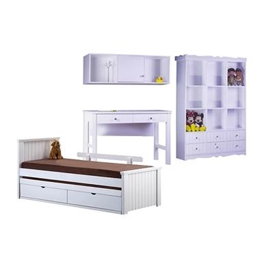 חדרי ילדים: חדר ילדים מעץ מלא דגם דורי