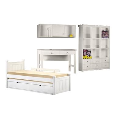 חדרי ילדים: חדר ילדים מעץ מלא דגם טולי
