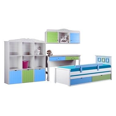 חדרי ילדים: חדר ילדים מעץ מלא דגם קים