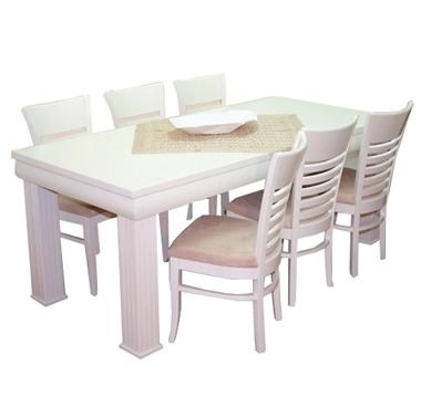 תמונה של פינת אוכל יוקרתית שולחן + 6 כסאות דגם מעוגל