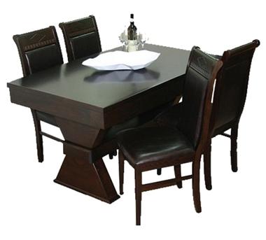תמונה של פינת אוכל יוקרתית שולחן + 4 כסאות דגם שעון חול