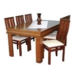 תמונה של פינת אוכל יוקרתית שולחן + 6 כסאות דגם חומה