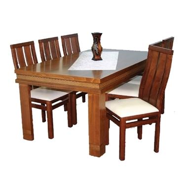 פינת אוכל יוקרתית שולחן + 6 כסאות דגם חומה