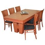 תמונה של פינת אוכל יוקרתית שולחן + 6 כסאות דגם מניפה