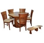 תמונה של פינת אוכל יוקרתית שולחן מתומן + 5 כסאות דגם גיל