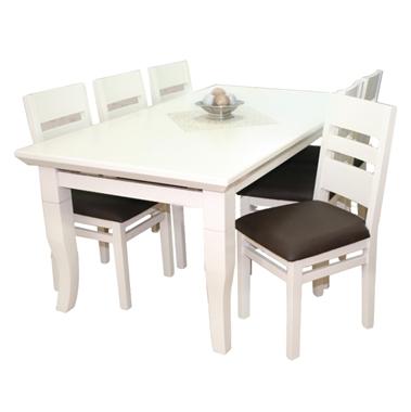 תמונה של פינת אוכל יוקרתית שולחן + 6 כסאות דגם שופר