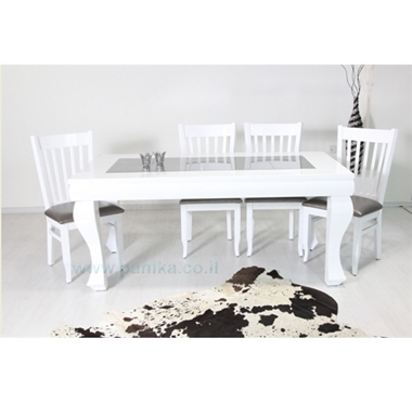 פינת אוכל פלוס 6 כסאות דגם ברק לבן