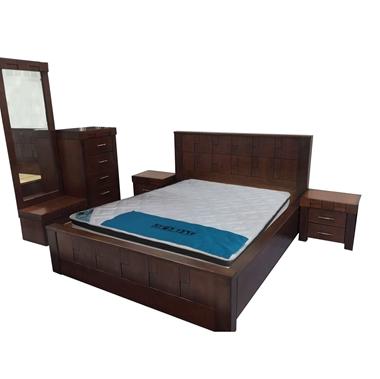 חדרי שינה: חדר שינה זוגי עץ מלא מיטה צפה דגם מיטל
