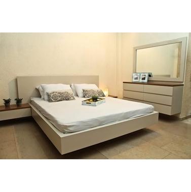 חדרי שינה: חדר שינה זוגי עץ מלא מרחף דגם מעיין