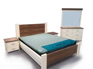 חדרי שינה: חדר שינה זוגי עץ מלא דגםאליהו