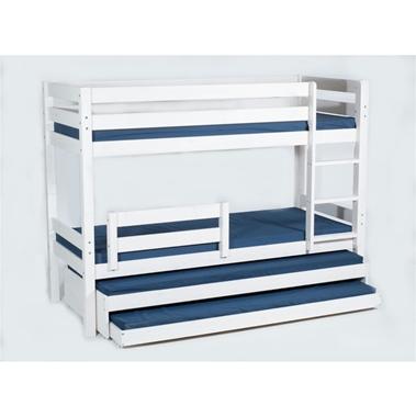 מיטות: מיטת קומותיים מעץ מלא + 2 מיטות נגררות דגם אביתר אקסטרה