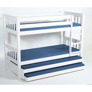 מיטות: מיטת קומותיים מעץ מלא + 2 מיטות נגררות דגם יעל אקסטרה