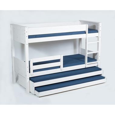 תמונה של מיטות: מיטת קומותיים מעץ מלא + 2 מיטות נגררות דגם לביא אקסטרה