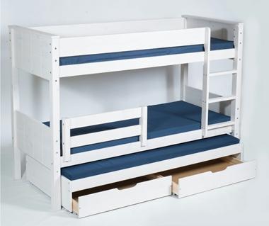 תמונה של מיטות: מיטת קומותיים מעץ מלא + מיטה נגררת דגם לביא