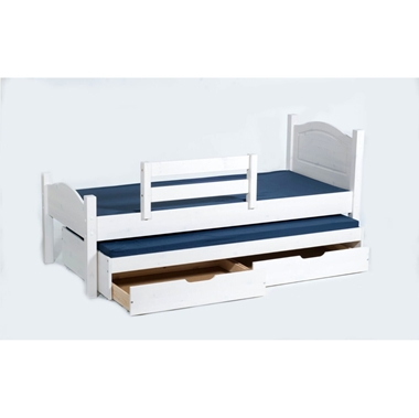 תמונה של מיטות: מיטת גלריה מעץ מלא + מיטה נגררת דגם שקד
