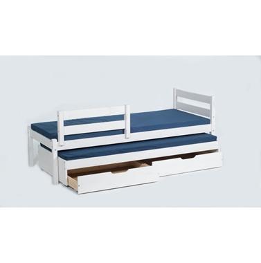 מיטות: מיטת גלריה מעץ מלא + מיטה נגררת דגם צבר