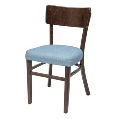 כסאות: כסא עץ לפינת אוכל דגם אגם מרופד