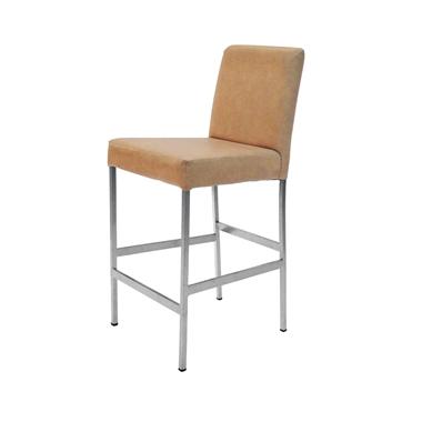כיסאות: כיסא בר בעל רגלי מתכת כסופה דגם אוהד