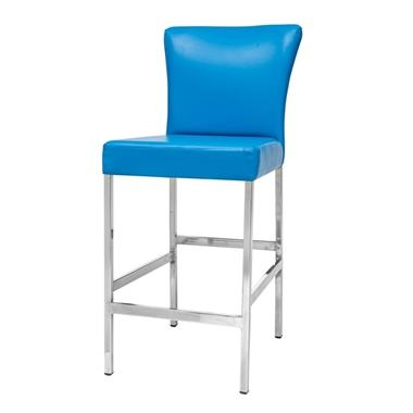 כיסאות: כיסא בר בעל רגלי מתכת כסופה דגם דניאל