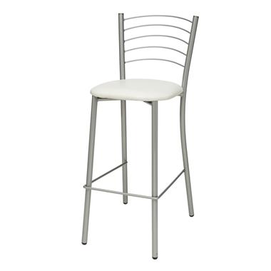 כיסאות: כיסא בר בעל רגלי מתכת כסופה דגם אפי