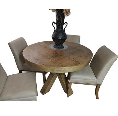 פינות אוכל:פינת אוכל עגולה ,שולחן + 6 כסאות דגם רז