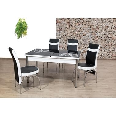 פינות אוכל: שולחן פינת אוכל זכוכית +4 כיסאות נפתח דגם שירן