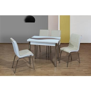 פינות אוכל: שולחן פינת אוכל זכוכית +4 כיסאות נפתח דגם מיריאן
